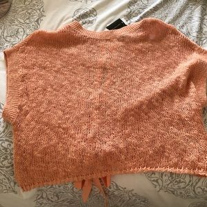 NWT Short Sleeve Lace Up Sweater